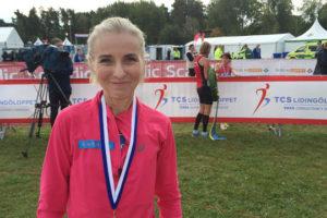 Norges Grete Kirkeberg sprang i mål som vinnare på Grönsta gärde för första gången. Foto: Jonas Hedman
